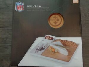 Pottery Barn NFL SERVING TRAY SET W/ CHEESE KNIVES-PITTSBURGH STEELERS-NEW IN BO