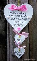 Christening gift for babygirls- personalised handmade heart-Shabby Chic