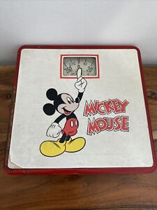 Vintage Disney Mickey Mouse White Red Personal Bathroom Scale 280 lbs Dial Works