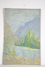 Dessin Original Pastel Marguerite DUBOIS XX° Paysage L'Isère vue de Laléchère