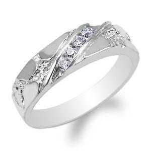 Mens 10K White Gold Round CZ Unique Pattern Wedding Band Ring Size 7-12