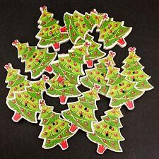 Christmas stars holly snowflakes DEAR SANTA 20 WOODEN BUTTONS