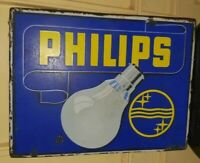 1930's Vintage Old Collectible Philips Bulb Light Ad Porcelain Enamel Sign Board