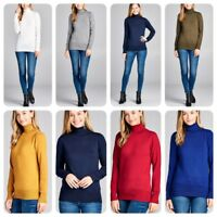 Women's Long Sleeve Turtle Neck Sweater  Pullover Knit Shirts (S-XL)
