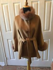 BELT Camel Wool Cashmere Wool cape with fox fur Collar & Cuff Trim