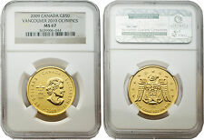 Canada 2009 Vancouver 2010 Olympics $50 1 oz Gold NGC MS 67