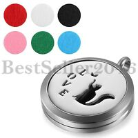 Cute Love Hollow Cat Essential Oil Diffuser Necklace Aromatherapy Locket Pendant