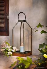 Laterne Windlicht Bügel Holzsockel Glaseinsatz Warmer Bronzeton Kerzen H. 41 cm