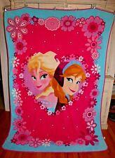 """Frozen Anna Elsa Faces Framed in Heart of Flowers Plush Throw Blanket 60""""X86"""""""