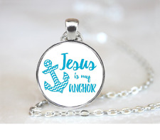 Jesus Is My Anchor PENDANT NECKLACE Chain Glass Tibet Silver Jewellery