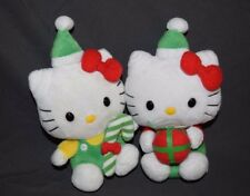 Lot of 2 TY Hello Kitty Plush Holiday Candy Cane Present Christmas Sanrio
