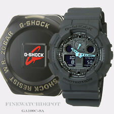 Authentic Casio G-Shock Men's Grey Neon Blue Hands Digital Watch GA100C-8A