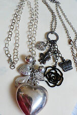 Lot of 2 Fashion Silver Tone Cluster Heart Crown dangle Charm Pendant Necklaces