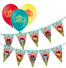 Animal Circus Bunting 15 flags &  Circus Assorted Birthday Balloons pack of 12
