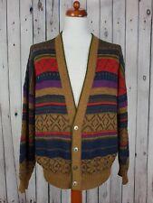 Vtg 1980s V Neck Buttonned Cosby Pattern Wool Blend Cardigan *L/XL*HG21