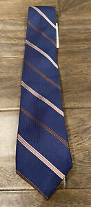 NEW The Men's Store Bloomingdales Striped Stripes 100% Silk Tie Blue $59 NWT
