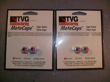 AMERICAN FLAG VALVE STEM CAPS SET OF 4 MOTOCAPS MADE IN THE USA NEW