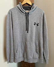 Under Armour Mens Fleece Hoodie Size XL Gray Black Loose Fit Pre-Owned