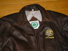 North American Hunting Club Brown Leather Bomber Jacket/Coat by Burks Bay Men L