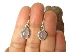 Oval  Rose  QUARTZ   Sterling  Silver  925  Pink  Gemstone  EARRINGS