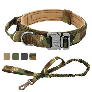 Military Tactical K9 Dog Collar and Leash Bungee Training with Handle Large Big