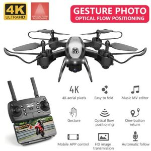 Camera Drone WIFI FPV GPS 4K HD Foldable Voice Gesture Control RC Quad Copter