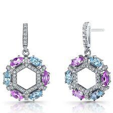 Created Pink Sapphire and Swiss Blue Topaz Hexagon Dangle Earrings