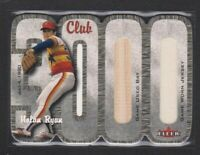 2000 FLEER CLUB 3000 DUAL MEMORABILIA BAT/JERSEY NOLAN RYAN HOF HAND SP #040/100