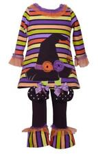 Bonnie Jean Halloween Striped Tunic with Witch's Hat and Legging Set