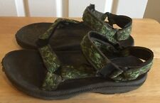 Teva 3k Sports Sandals Camouflage Green Black Sole 9.5 Inches Heel To Toe