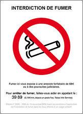 PETIT Panneau ALUMINIUM INTERDIT DE FUMER [15X21 cm] texte amende