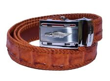 Innovative Tan Brown Top Stitching Silver Frame Box Crocodile Leather Men Belt