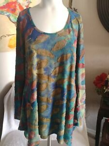 Soft Surroundings Womens Multi Colored Leaf Print Tunic Size S