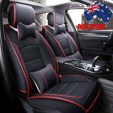Universal Deluxe PU leather Car Seat Cover Full Front+Rear Cushion 5Seat Pillow