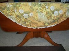 Vintage Circular round floral green table cloth fringe pom poms 60s