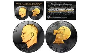 1976 Bicentennial IKE Eisenhower Dollar 2-Sided BLACK RUTHENIUM & 24KT Gold Clad