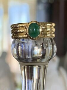 Tiffany & Co 18K Gold Atlas .60 Carat Oval Emerald Groove Ring Band