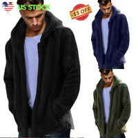 Men's Winter Fleece Fur Hoodie Sweater Jacket Hooded Cardigan Coat Outerwear USA