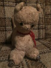 Vintage Stuffed Cat and Bells Toy Stitched Face Button Eyes 1920-1950's Animal