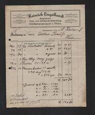HÜTTENSTEINACH, Rechnung 1928, Heinrich Engelhardt Sägewerk Holz-Kohlen-Grosshan
