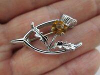 Vintage Mizpah Scottish Celtic Citrine Silver Tone Lucky Wishbone Brooch Pin