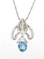AGUAMARINA Y Diamante Colgante en platino with 61cm Platino Cadena - hm1622