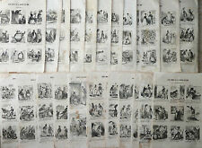 RARE LOT 22 GRAVURES XIXè CHARIVARI CARICATURES / CHAM REVUE COMIQUE SEMAINE