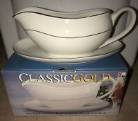 CLASSIC GOLD FINE CHINA DOUBLE GOLD BANDS GRAVY BOAT UNDER PLATE 1998 New