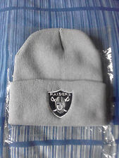 oakland raiders knitted beanie hat grey