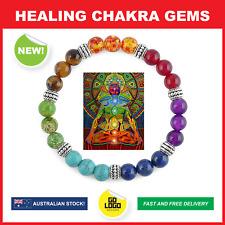 Healing Gemstone Amethyst Tiger Eye Chakra Bracelet Stone Yoga Reiki Natural Gem