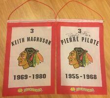 RARE Chicago Blackhawks PIERRE PILOTE Retired Signed SGA KEITH MAGNUSON Banner