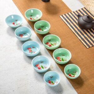 Chinese Tea Cup Porcelain Celadon Fish Teacup Teapot Drinkware