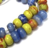 "7"" Strand of 41 Small Mixed Colorful  Czech Disk Antique Beads African Trade"