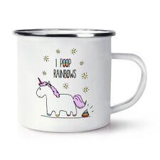 Lila Unicorn I Poop Rainbows Retro Enamel Mug Cup - Funny Crazy Magical